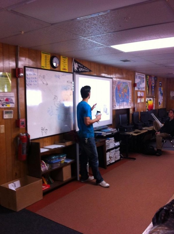 "Alex using the ""Smart Board"""