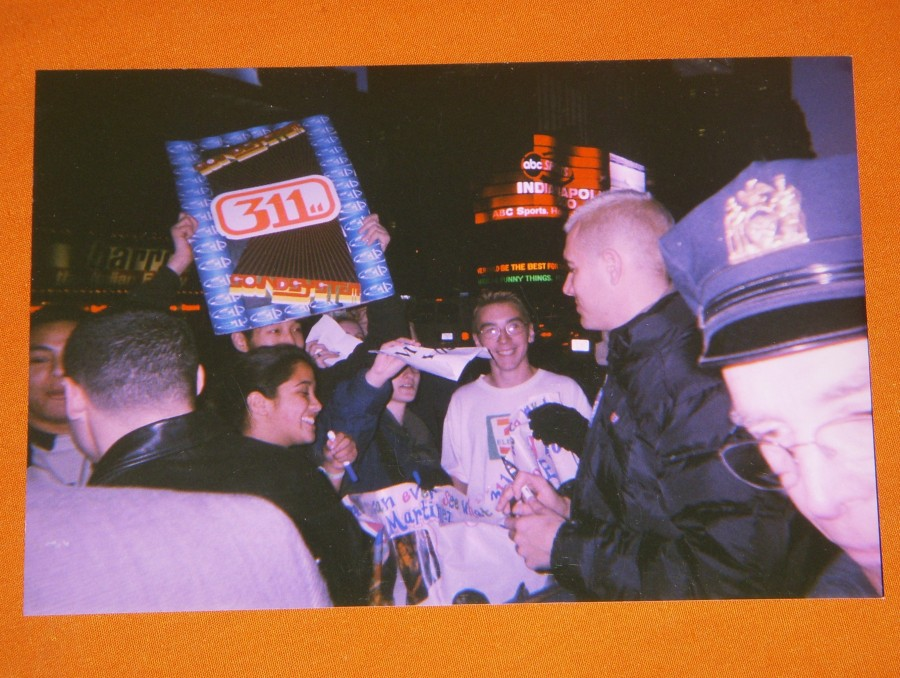 Alex Eaves' Reuse 311 Sign & Nick Hexum Outside MTV In 1999