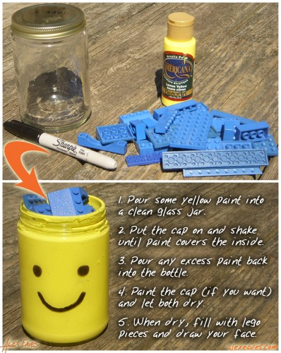 Glass jar becomes unique reuse Lego container.